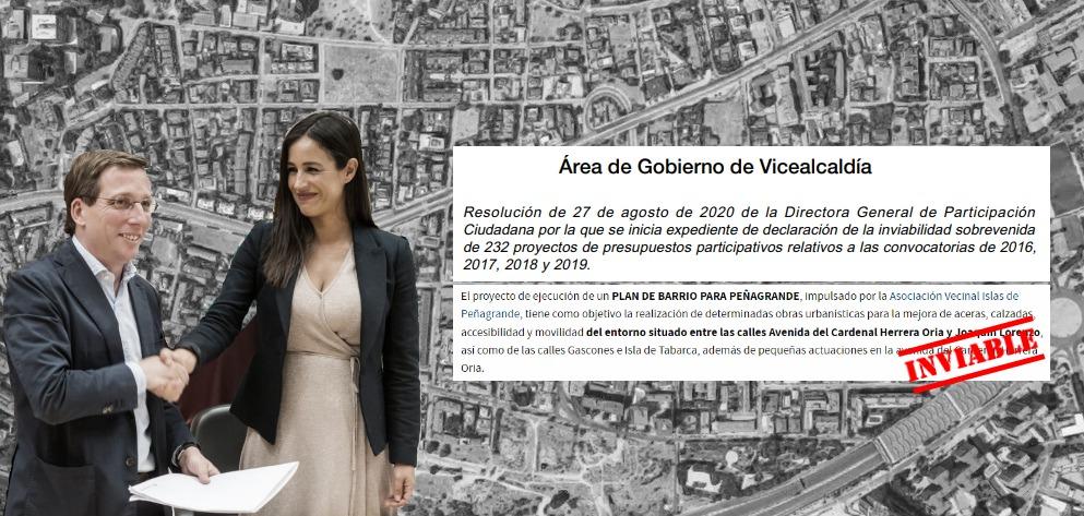 El Ayuntamiento se carga el «Plan de Barrio» que conseguimos para arreglar Peñagrande